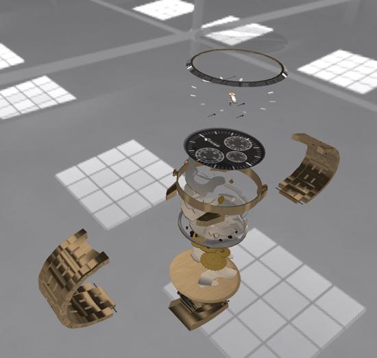 Montre de luxe en vue explosée en 3D