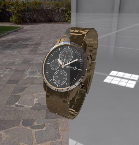 Comparaison d'environnement sur le rendu d'une montre en or